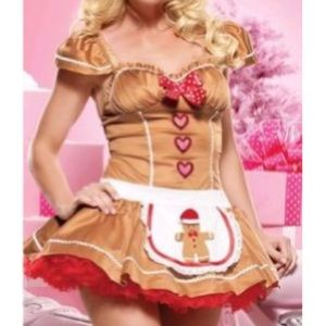 Sexy Santa gingerbread girl costume role play S/M