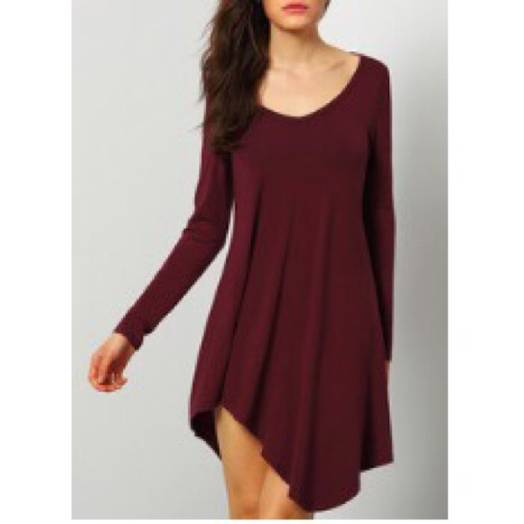 6158741bc0 Dresses   Skirts - Maroon Burgundy long sleeve tee shirt dress
