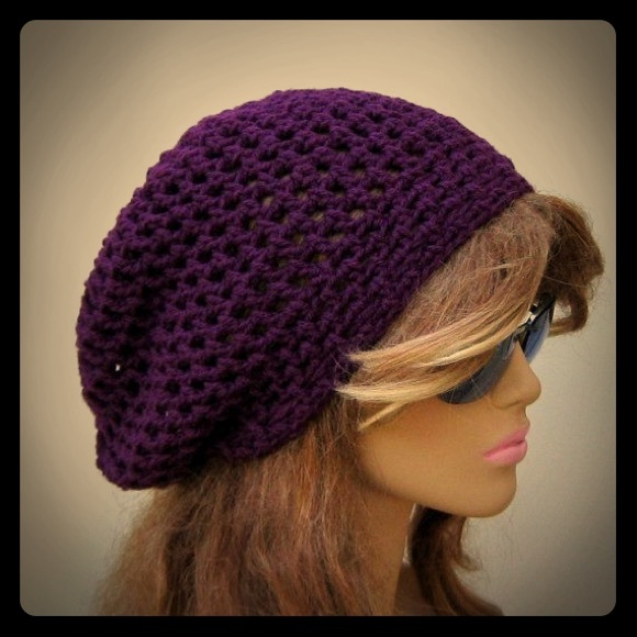 7f3b10db111 Accessories - Purple Tam Snood Slouchy Beanie Hat - Size OS