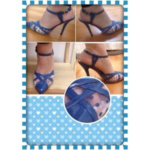 Shoes - 🆕 Pointy Stiletto light navy blue dot mesh heals