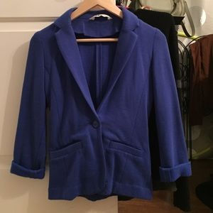 H & m blue soft fabric blazer jacket size 2