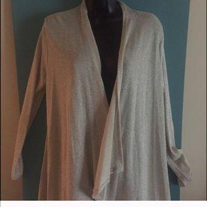 Sweaters - Metallic silver colored open asymmetric cardigan