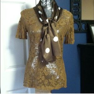 D&G Tops - D&G shear lace top w/attached scarf