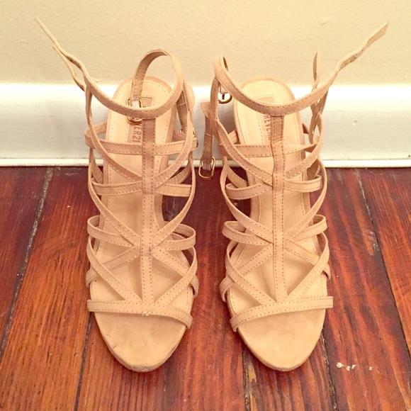 7deae780faf Forever 21 Shoes - Nude Strappy Cage Sandal Heels