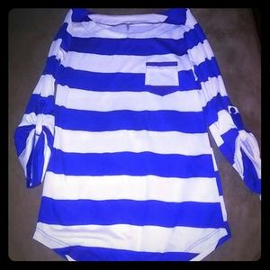 DNA COUTURE BLUE & WHITE STRIPE TOP