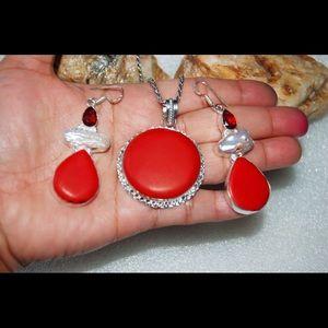 handmade & handcrafted gemstone jewelry Jewelry - ✂️DROP✂️Red Howlite Statement Pendant & Earrings