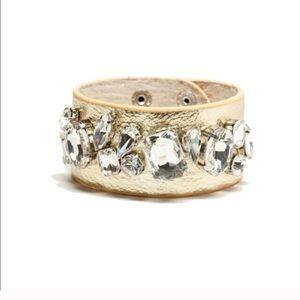 珞SALE珞 Crystal Gold Faux Leather Bracelet