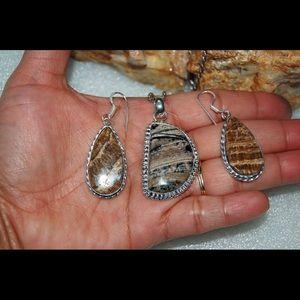 Jungle Print Picture Jasper Pendant & Earrings Set