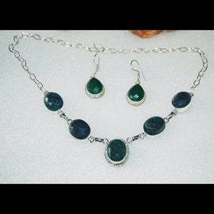 handmade & handcrafted gemstone jewelry Jewelry - ✂️DROP✂️Dark Green Onyx Necklace & Earrings Set