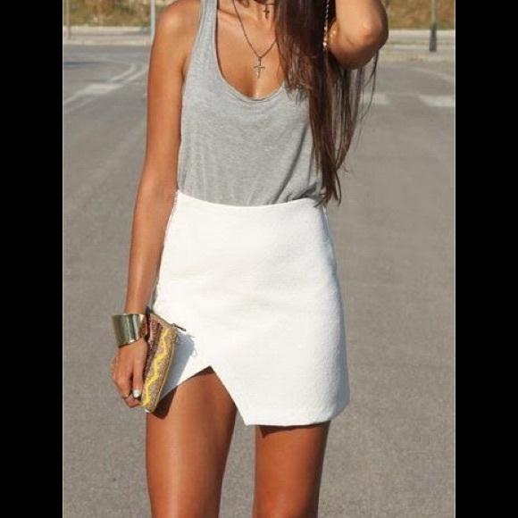 e6cd58a9e3 Skirts | Thick White Asymmetrical Mini Skirt | Poshmark