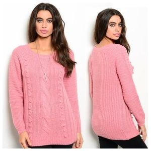 Pink Rose Cable Knit Sweater