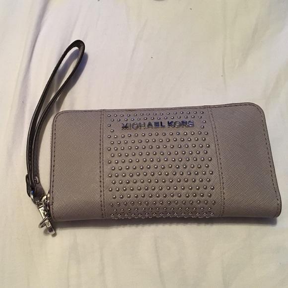 628f25c3c79b Grey Michael Kors studded full size wallet. M_56705fa18f0fc47d0b004026
