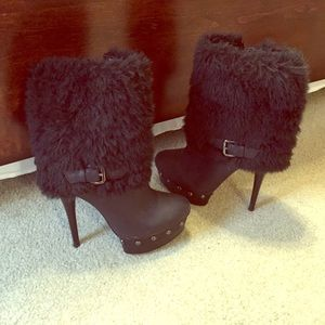 Bebe stiletto fur boots with buckle