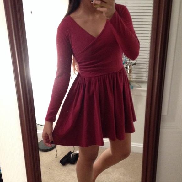 cf84401c30d3 ASOS Dresses   Skirts - Long sleeved burgundy skater dress