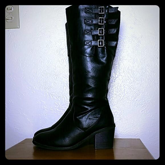 cf43a1efd00 Rocker Black Tall Knee High Boots Wide Calf 9W