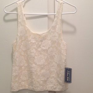 Tops - Cream Lace Crop Top