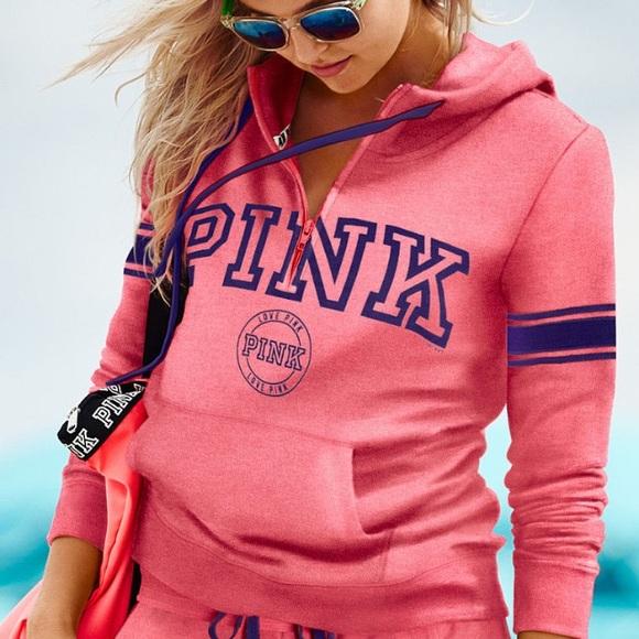 PINK Victoria's Secret - Victoria Secret Pink Half Zip Hoodie ...