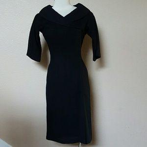 Vintage black textured classy pinup wiggle dress