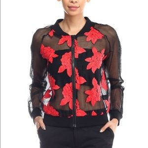 Jackets & Blazers - Long sleeve sheer jacket w/floral detail