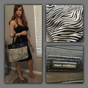 Aqua Madonna Handbags - Aqua Madonna Leather Pony Hair Zebra Tote Handbag