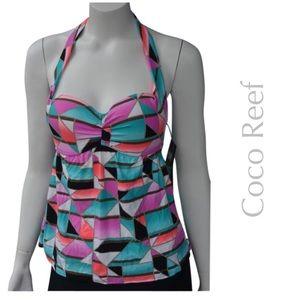 NEW COCO REEF geometric tankini swim top C cup bra