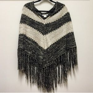 Willow & Clay Striped Fringe Hoodie Poncho