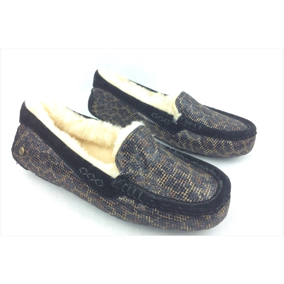 bca1ffedbc6 UGG Ansley Glitter Black Gold Moccasins Slippers