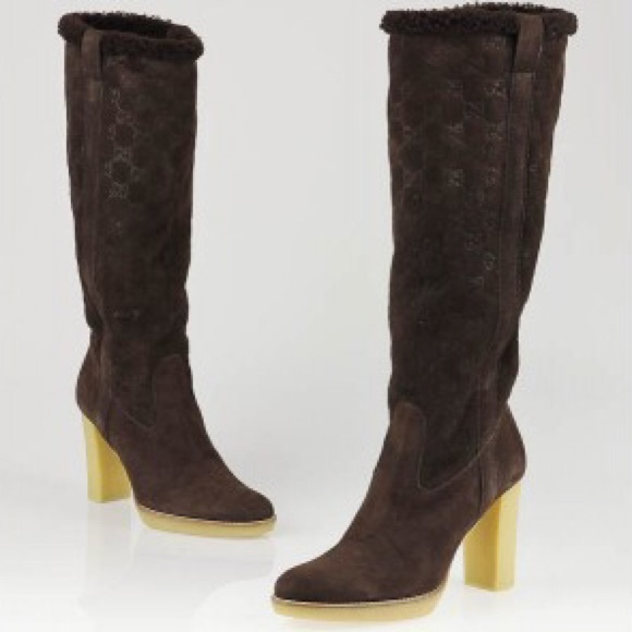 6022818b Gucci Brown Guccissima Suede and Shearling Boots