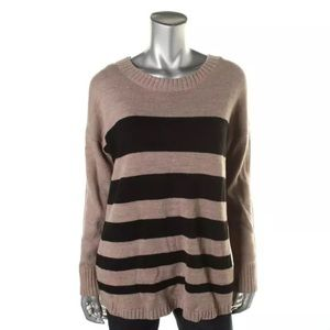 AGB Sweaters - NWT💥AGB Beige Striped LongSleeve Pullover Sweater