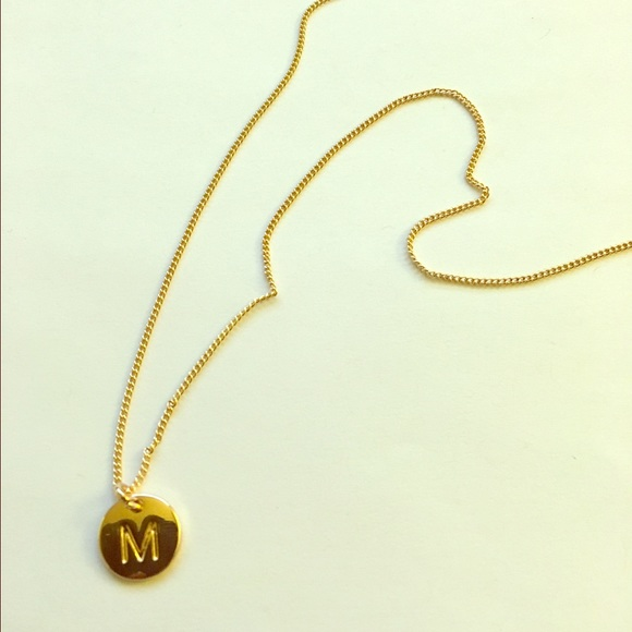 m stamped letter charm necklace