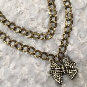 Double Chain Crystals Bow Necklace