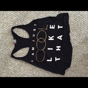 Black And Gold Crop Tank