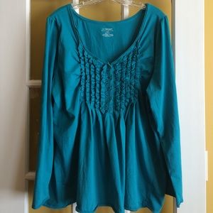Lane Bryant Blue Teal Ruffled Long Sleeves