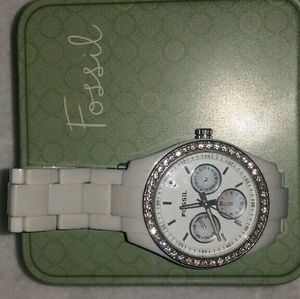 Fossil white link band watch