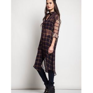 "Bare Anthology Tops - ""Plaid Back Look"" Long Sleeve Tunic"