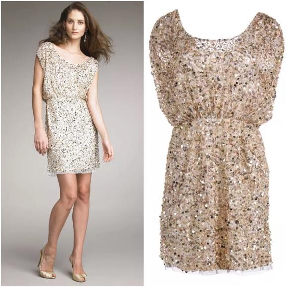 7dd4a33fd94 Aidan 8 Gold Sequin Blouson Cocktail Dress