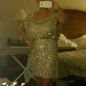 34878c0c530 Aidan Mattox Dresses - Aidan 8 Gold Sequin Blouson Cocktail Dress