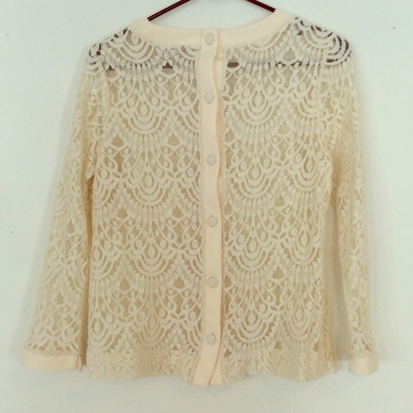 bbe74994e9b7c6 Banana Republic Tops | Cream Lace Top With Buttons Down Back | Poshmark
