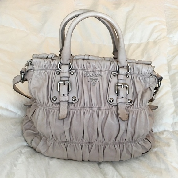 5af54b431531 Prada Bags | Gaufre Nappa Leather Tote In Taupe | Poshmark