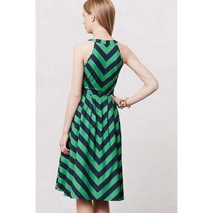 Anthropologie Dresses - Anthropologie Green and Navy Striped Dress