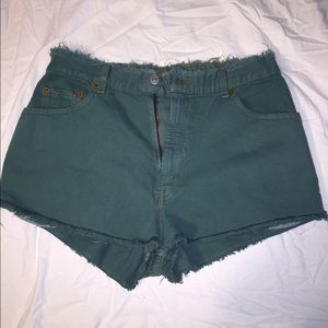 Lightly Distressed Denim High-waisted UO Shorts