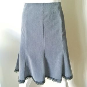 Grey Flare A Line Skirt with Black Lace