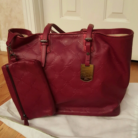 73cbe775fb09 Longchamp Leather Tote and Pouch NWT  1