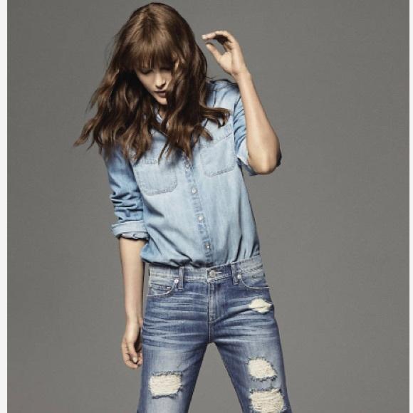 Express Tops - Nwt light wash denim boyfriend shirt