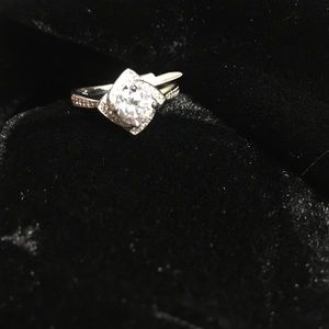 Solitaire CZ ring in sterling silver