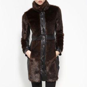 Rachel Zoe Leather Trim Faux Fur Coat