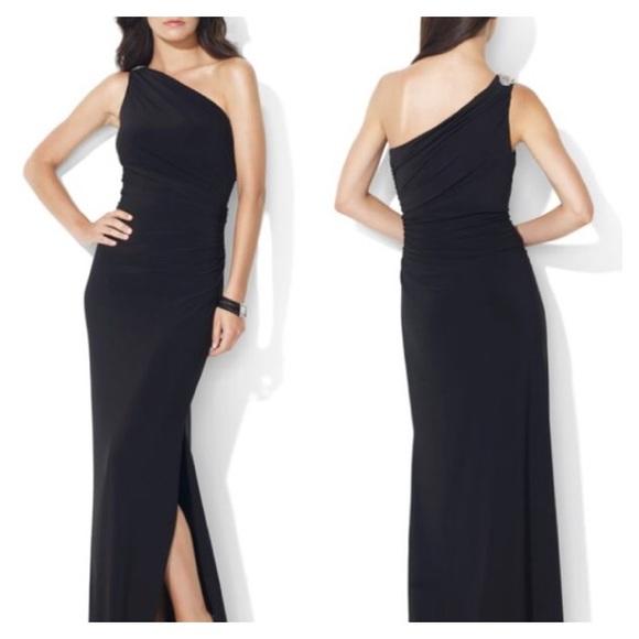 b23aaa1794 Ralph Lauren Embellished One Shoulder Jersey Gown.  M 56723b4e78b31c0f7e00909a