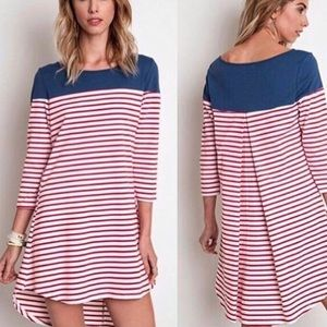  Striped Tunic Dress Top