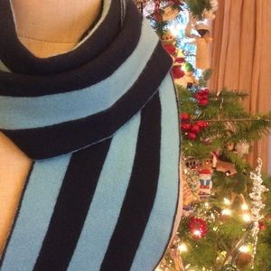 Kate Spade NY 100% Cashmere Stripe Teal/Navy Scarf