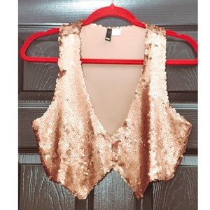 Sequined Rose Gold Vest SZ 38